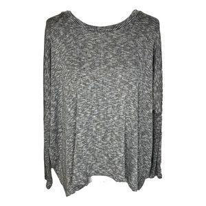 Vestique Ribbed Dolman Sweater Gray Medium